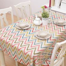 Striped Cotton Table Cloth Colorful Wave Printed Nappe Tablecloth Coffee Party Wedding Modern Table Cover Toalha De Mesa ZB-47(China)