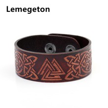 Lemegeton Talisman Wicca Slavic Badge Knot Wolf Viking Studded Cuff Wristband Red color Genuine Leather Men Bracelet(China)