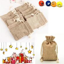 Faux jute/Hessian Drawstring wedding bomboniera Gift burlap Bags For Storage Christmas Party Decor Favor Candy Jewelry Packaging(China)