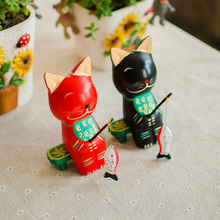 Cat Fishing Log Couple Home Furnishing Garden Style Holiday Gifts Jewelry Ornaments