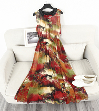 [soonyour] 2017 Summer New Pattern Fashion O-neck Collar Printing Sleeveless Empire Waist Vest Long  Dress Woman Casual L29901