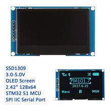 "Buy 2.42"" 12864 lcd oled display module SPI IIC I2C OLEDS blue screen 3v-5v 2.42 oled SSD1309 compatible C51 STM32 ARDUINO DIY for $21.00 in AliExpress store"