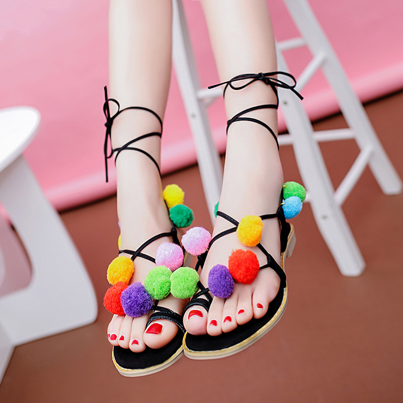 2017 Cute Furry Colorful Ball Women Sandals Flat Lace Up Flip Flops Beach Gladiator Sandal Summer Woman Shoes For Holiday<br><br>Aliexpress