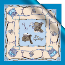 High quality silk crepe satin water blue saddle small silk scarf small square scarf Hangzhou