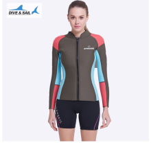 2mm Neoprene Scuba Diving Wetsuit Jacket For Women Front Zip Long Sleeve Full Zip Wet Suit Top Cool Ladies Snorkeling Clothes