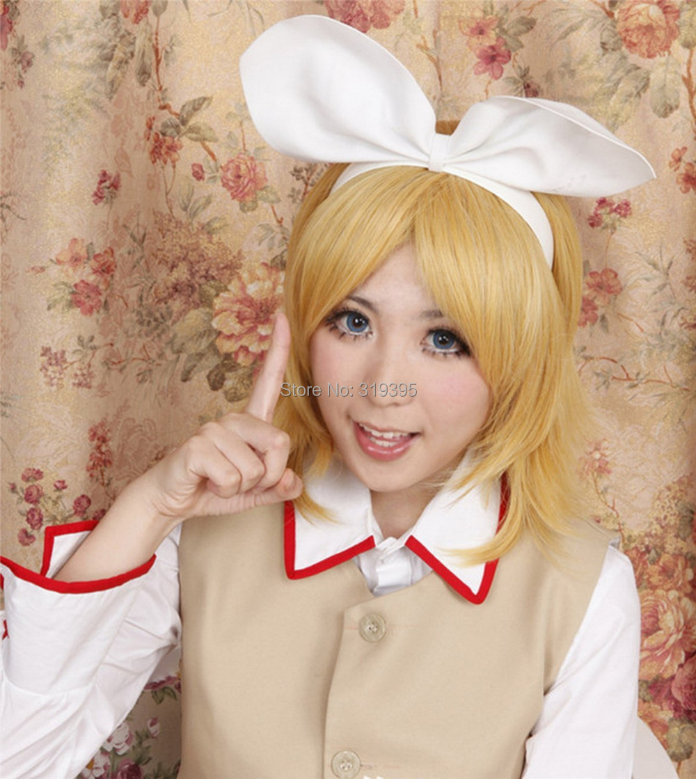 Cosplay Costume Wigs The Vocaloid Kagamine Rin Twin Sister Golden Adult Fancy Dress Hair 147A<br><br>Aliexpress