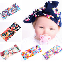 Fashion Headband for Girls Soft Cotton Flower Prints Elastic Lace Big Hair Band Bows Girls Hair Acessories Bow headwrap Infantil