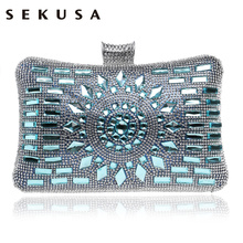 Mixed Color Day Clutches Handbags Small Purse Evening Bag One Side Diamonds Messenger Wedding Vintage Fashion Purse