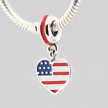 Pandulaso Heat-Shape Dangle Flag USA Silver Beads 100% 925 Sterling-Silver-Jewelry Fits European Brand Charms Bracelets - pandulaso silver -jewelry Store store