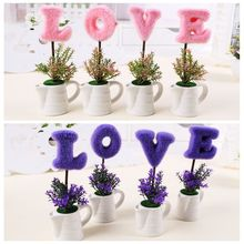 LOVE simulation flower potted Women's Valentine's day Gift Desktop furnishing articles home decoration tool birthday present