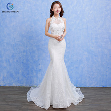 2017 Ivory White Sexy Mermaid Dress Bride Trailing Lace Flower Sleeveless Halter Wedding Dresses Beading Elegant Customzie DLD92(China)