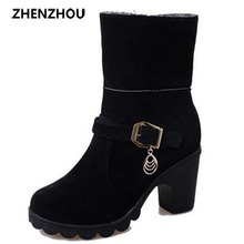 zhenzhou New autumn/winter 2016 The U.S. dollar head High and thick with Belt buckle Pair of ankle boots Martin boots