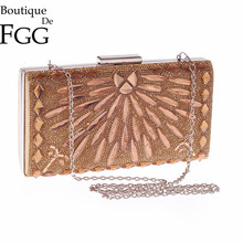 Women's Fashion Metal Hard Case Hot-Fixed Champagne Crystal Diamond Dazzling Evening Bag Wedding Cocktail Handbag Clutch Purse
