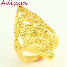 Adjustable size Dubai Gold Rings 24K Gold Color Ring For Women Wedding Jewelry Ethiopian/African/Middle East Items Free Box