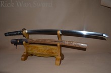 DAMASCUS FOLDED STEEL BLADE HANDMADE JAPANESE SWORD SAMURAI KATANA RAZOR SHARP FULL TANG BATTLE READY BRASS TSUBA