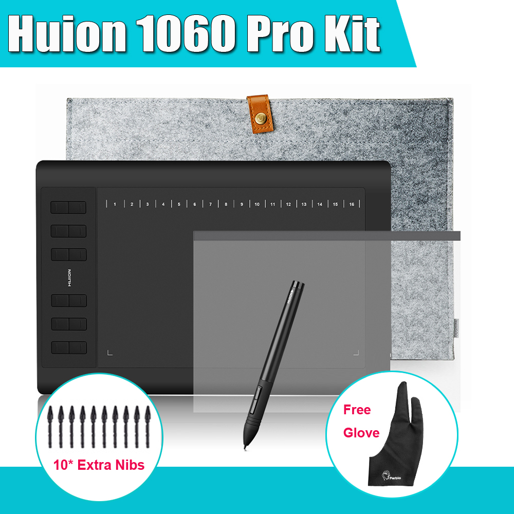 HUION 1060 Pro+ Digital Graphic Tablets Drawing Tablet Board Kit +15 Liner Bag +Protective Film + Parblo  Glove + 10 Extra Nibs<br><br>Aliexpress