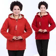 Autumn Winter Middle Aged Womens Hooded Imitation Lambs Fleece Jackets Ladies Warm Soft Velevt Coats Mother Overcoats Plus Size(China)