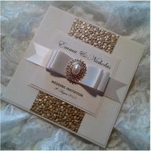 Luxury Gold/Silver/White Embossed Pebble Wedding Invitations with Pearl and Crystal Embellishment