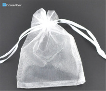 Doreen Box hot-  Gift pouch &bag, organza, white, with draw, wedding, 9x7cm.100PCs (B07738)