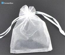 Дорин коробке Hot-Подарочный мешочек и сумка, органза, белый, с дро, свадьба, 9x7cm. 100 шт. (B07738)(China)
