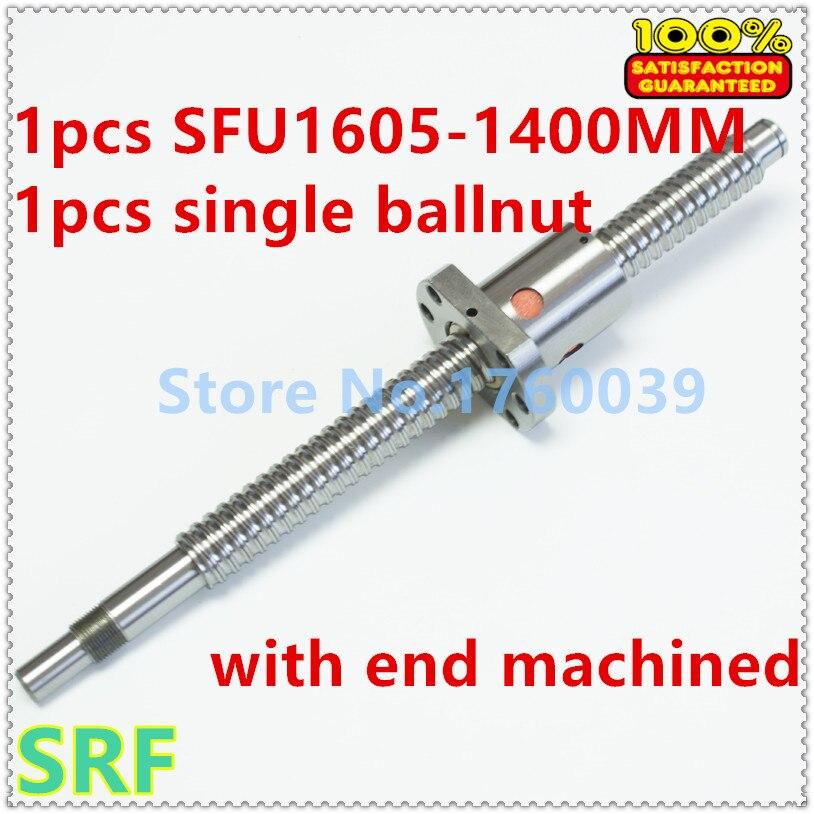 Zero Backlash SFU1605 Ballscrew set:1pcs 16mm Rolled Ball screw SFU1605 L=1400mm+1pcs single Ballnut with end mahicned CNC Part<br>