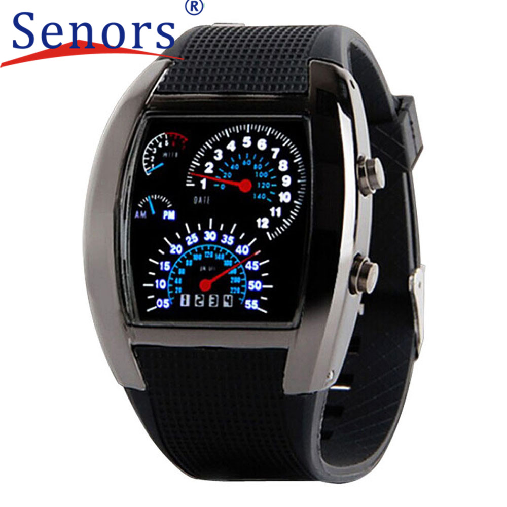 Essential 2016 Fashion Aviation Turbo Dial Flash LED Watch Gift Mens Lady Sports Car Meter Stainless steel Dress Wristwatches<br><br>Aliexpress