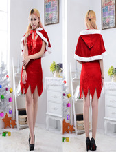 Christmas Dance Sexy Sweetheart Miss Santa Cosplay Costumes Halloween Party Little Red Riding Hood CosPlay Dress+Shawl 2pcs/Set