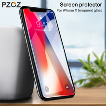 PZOZ Tempered glass For iphone X 8 7 6 6s Plus 6 s full cover screen protector film Phone protective Accessories Curved 9H 2.5D(China)