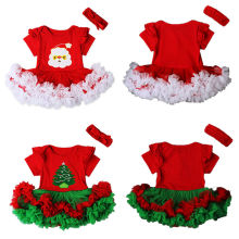 2016 Christmas Newborn Baby Girl Clothes Santa Claus Tutu Dress Cute Infant Bebes Mesh Cake Romper Dresses Party Costume 0-18M