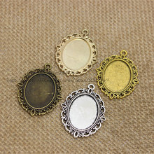 20pcs/lot Antique silver filigree cameo cabochon base setting pendant tray 30*40mm (Fit 18*25mm DIA) Jewelry Blanks