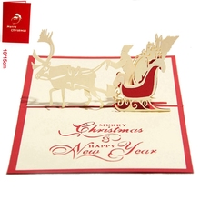 10pcs Santa Ride 3D laser cut pop up paper handmade postcards custom greeting cards Christmas gift for lover 9008R