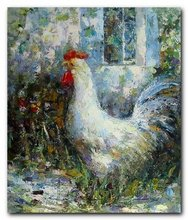 Free Shipping Chicken decoration Modern hand painted On Canvas 20x24 inch chicken duck goose oil painting 0001