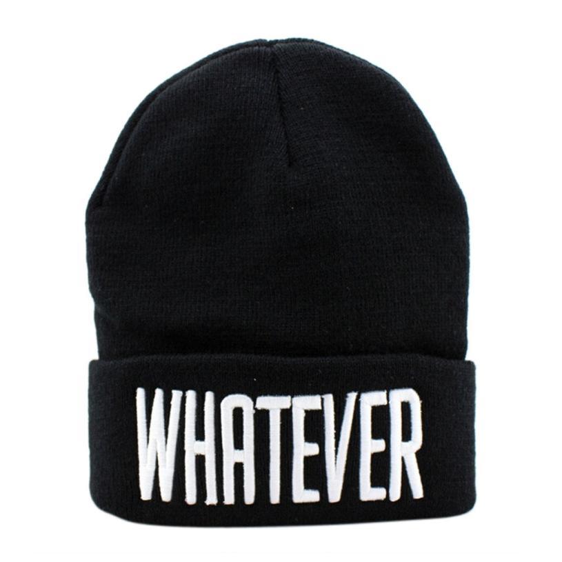 2016 Hot Sale Winter Black Whatever Skullies Beanies Hats And Snapback Men And Women Caps Good-looking JUN 7Îäåæäà è àêñåññóàðû<br><br><br>Aliexpress