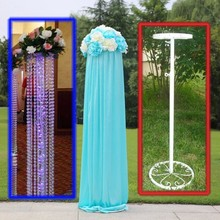 Free Shipping white wedding hook Metal road lead frame flower holder wedding column flower stand Party Prop 10pcs/lot(China)