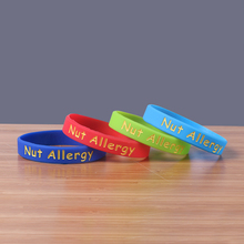 2016 New 50PCS/Lot Alert Nut Allergy silicone bracelet china For Adult Size 4 colored silicone wristband Round shape rubber band(China)