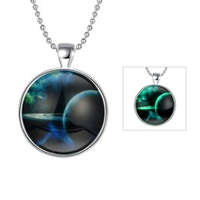 Dreamy Solar System Fluorescent Green Pendant Necklace 60cm Party Hot Wholesale Jewelry Friendship Christmas Gift YGN120(China)