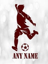 Custom made Personalized Football Player Vinyl  Removable Wall Sticker Any Name Art Decal Custom Gift-You Choose Name and Color