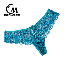 Buy CONYMEE Sexy Women G-string Panties Low Waist Lace Underwear Briefs Transparent Thong Tangas Ladies Seamless T-back Panty for $7.49 in AliExpress store