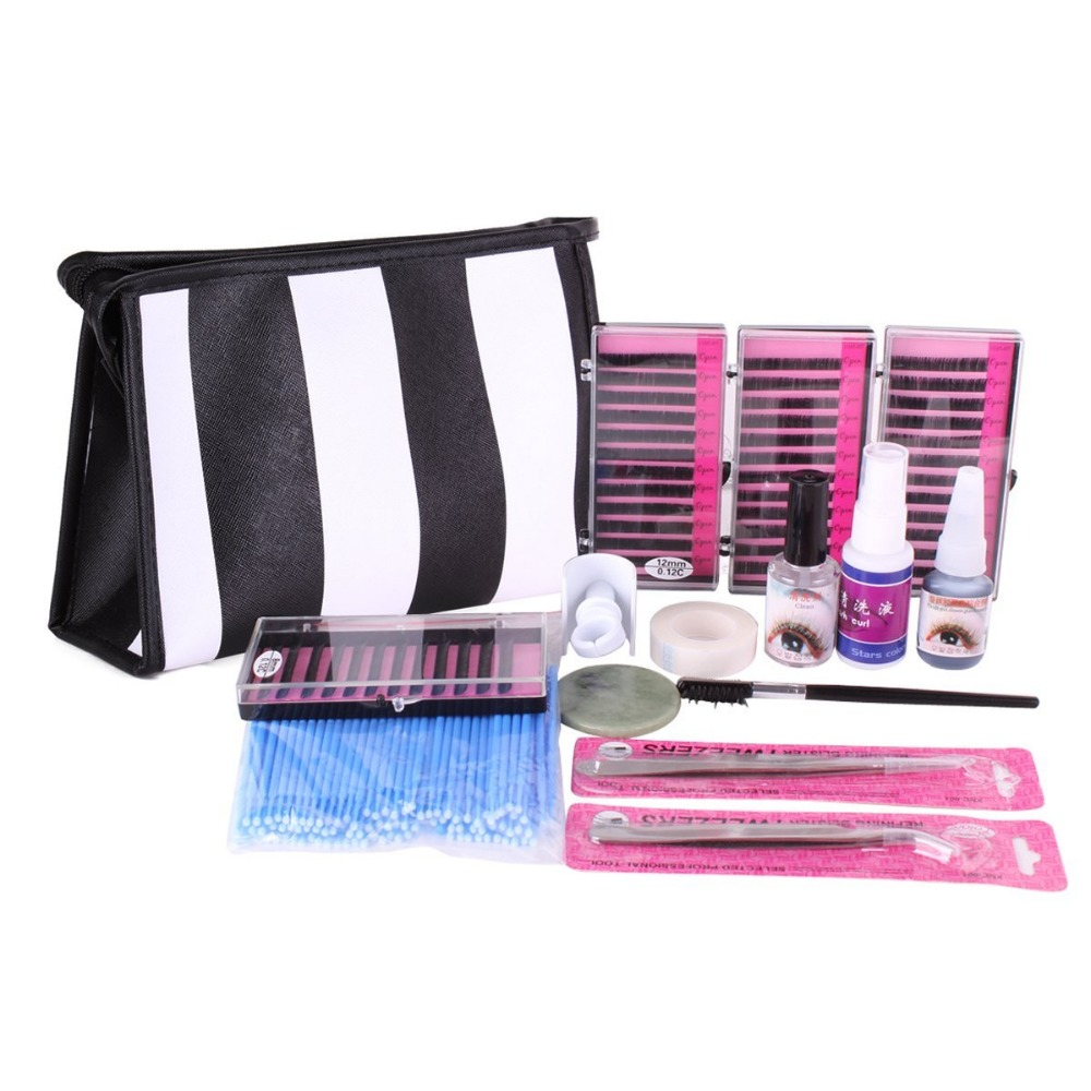 ViewS@ Semi Permanent Make Up Individual Eyelash Extensions C Curl Glue Set eyelash kit<br>