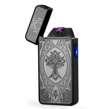 Pulsed Double Arc Lighter USB Electronic Cigarette Accessories Torch Plasma Cigar Windproof Lighter Men Cigarette Lighter -6008a(China)