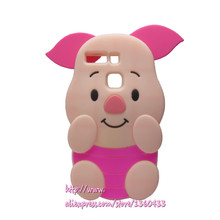 Soft Silicone Phone Cover Case For Huawei P9 / P9 Lite 3D Cute Cartoon Rose Red Big Ears Pig