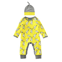 Baby autumn and winter clothing full printed paper airplane long sleeved rompers and hats clothing set Newborn Infantil Playsuit
