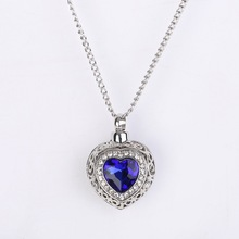 Ocean Heart Blue Crystal Pendant Can Open Urn Ash Jewelry Cremation Necklace
