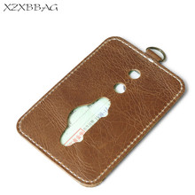 XZXBBAG 100% Genuine Leather Credit Card ID Holders Men Simple Thin Business Card Case Covers Male Cash Card Pack Bus Cardholder(China)