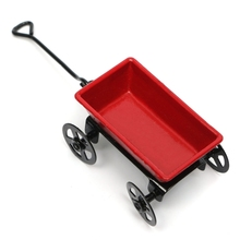 Cute Dollhouse Metal Miniature Metal Red Small Pulling Cart Garden Furniture Accessorie Toy For Home Decor Gift Ornament