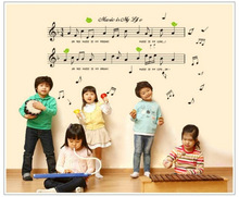 Wholesale Music Notes Children Kids Kindergarten Nursery Music Classroom Decoration Removable Wall Sticker Adesivo De Parede(China)