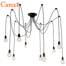 Modern Nordic Retro Edison Chandelier Lighting Vintage Loft Antique Adjustable DIY E27 Spider Pendant Hanging Lamp Home Lighting(China)