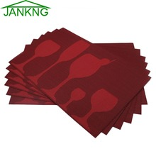 JANKNG 6 Pcs/lot PVC Placemats Woven Vinyl Place Mats Novelty Glass Cup Coasters for Dinner Table Pad Heat-resistant Placemats