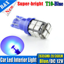 100PCS T10 LED Blue 168 194 2825 W5W 20-SMD 2835 LED Bulbs For Car Parking Position Lights 360lm Mixed color available