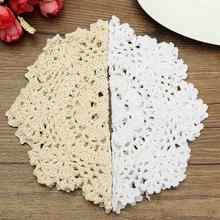 Table Mat Coasters Round Hand Crocheted Lace Doilies Vintage Cotton Yarn Home Dining Table Decorative Accessories Fabrics